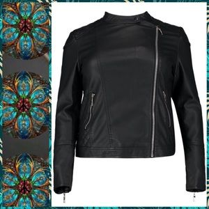 🆕⚜️• Quilted Faux Leather Biker Jacket NWT